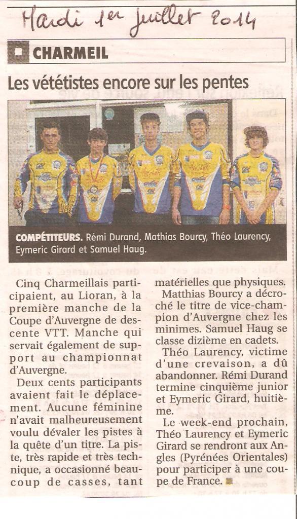 1ere coupe Auvergne DH